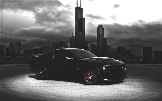 Wallpaper Ford Mustang black car, dark night, city
