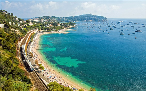 Wallpaper France, French Riviera, Mediterranean Sea, coast, railway, boat, beach, train, road