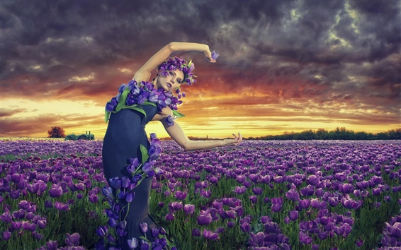 Wallpaper Girl in the garden, purple tulips flowers