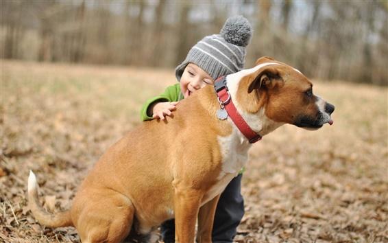 Papéis de Parede Bebé feliz, abraços, cão, amizade