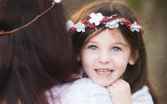 Fond d'écran Bonne fille, enfant, mère, sourire