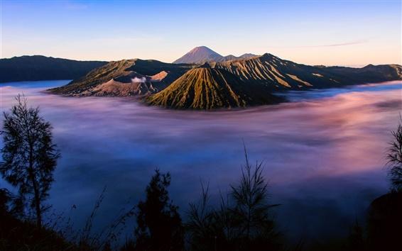 Wallpaper Indonesia, Java, volcano Tengger, morning, fog