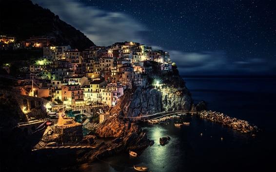Fond d'écran Italie, Cinque Terre, côte, maison, falaise, veilleuses