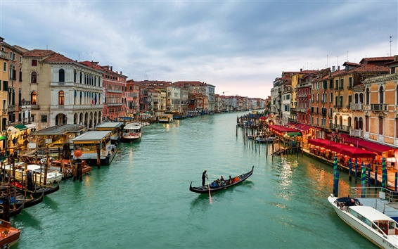 Papéis de Parede Itália, Venezia, Canal Grande, barcos, casas, mar, céu