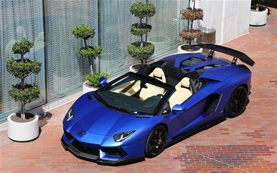 Papéis de Parede Lamborghini Aventador LP700-4 azul fosco supercarro