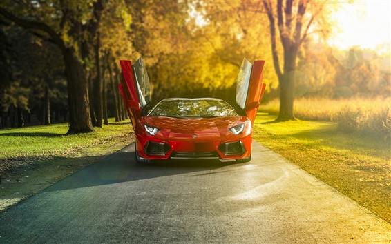 Обои Lamborghini Aventador LP700-4 красный суперкар, утреннее солнце