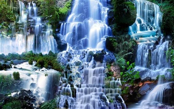 壁紙 多くの滝、自然の風景