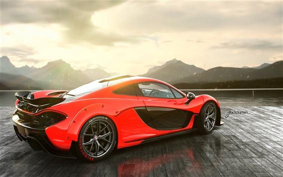 Обои McLaren P1 вид красной стороны суперкар