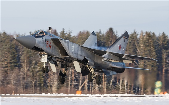 Wallpaper MiG-31 fighter, takeoff airfield
