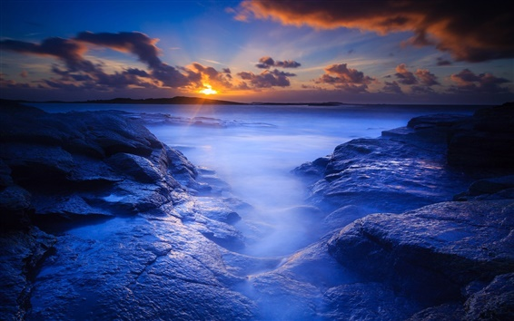Wallpaper Morning beach, sea, rocks, dawn, sunrise