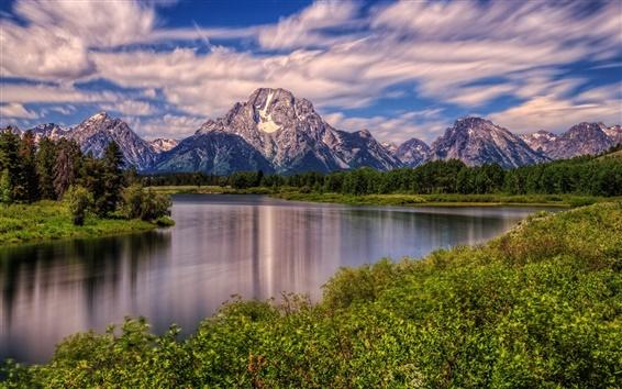 Papéis de Parede Montagem Moran, Rio Snake, Parque Nacional de Grand Teton, Wyoming