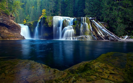 Wallpaper Nature scenery, river, waterfall, forest