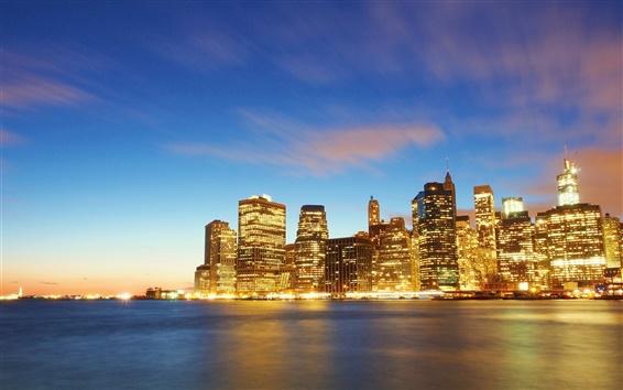 Papéis de Parede New York, Manhattan, construções, luzes, mar, crepúsculo