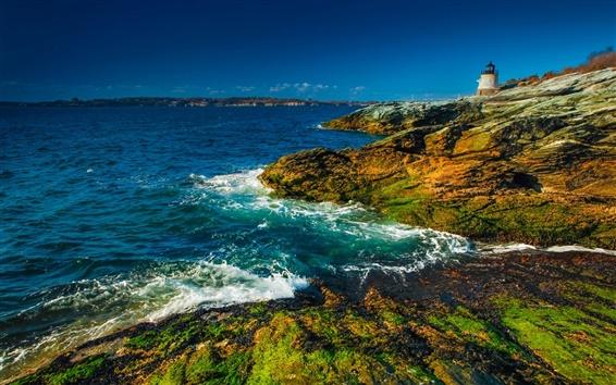 Papéis de Parede Newport, País de Gales, Inglaterra, Bristol Bay, costa, farol