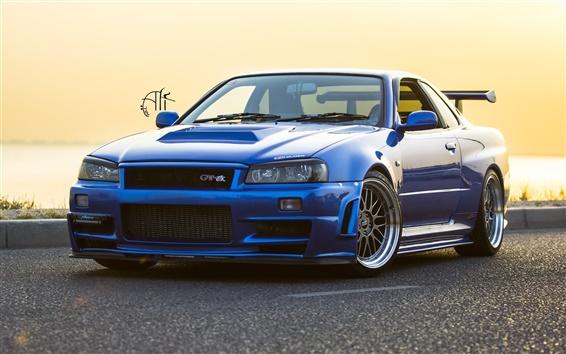 Обои Nissan GTR R34 синий автомобиль