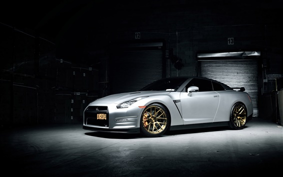 Wallpaper Nissan GTR white supercar, garage