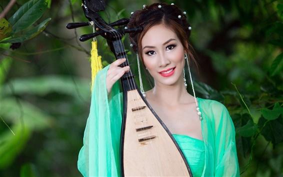 Fond d'écran Pipa fille, musique, Asie