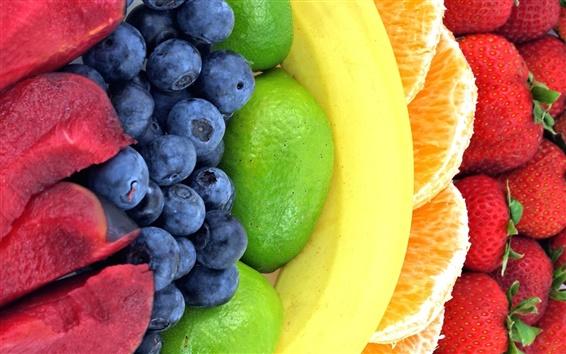 Wallpaper Rainbow fruits, strawberry, orange, banana, lemon, blackberry, plum