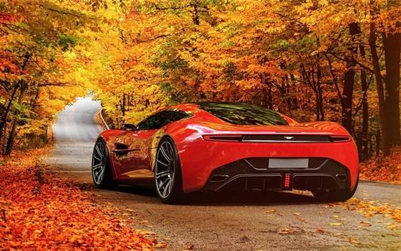 Hintergrundbilder Red Aston Martin DBC Konzept Auto, Straße, Herbst