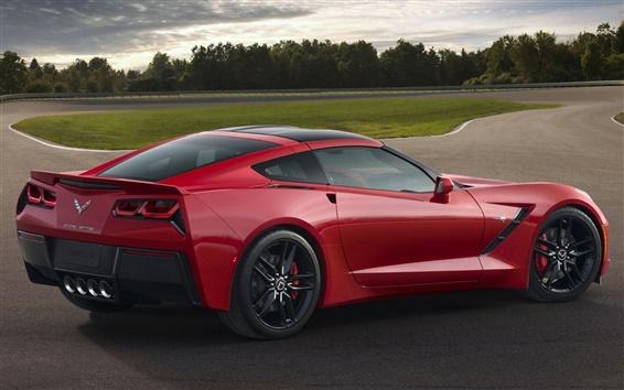 Обои Красный Chevrolet Corvette Stingray С7 вид суперкар сторона