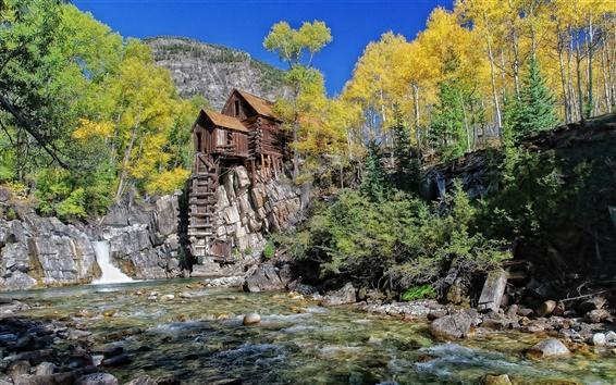 Fond d'écran Rivière, maison de bois, roches, l'eau, les arbres