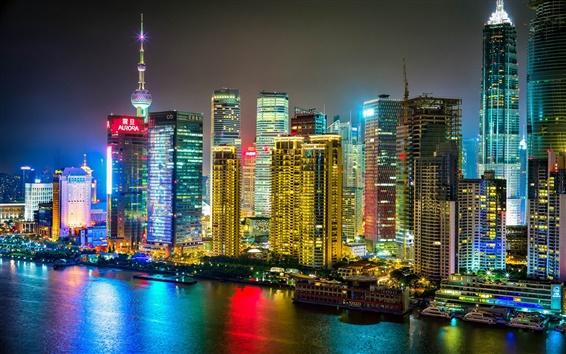 Papéis de Parede Xangai, China, cidade da noite, edifícios, arranha-céus, rio