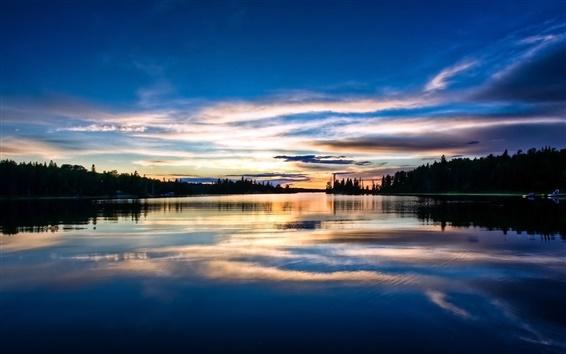 Wallpaper Sunset landscape, trees, river, reflection, sky