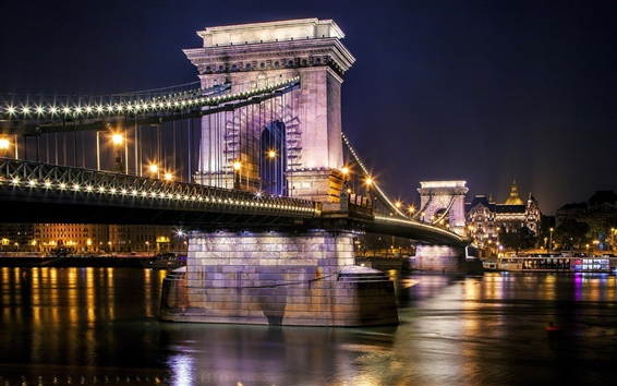 Wallpaper Szechenyi Chain Bridge, Budapest, Hungary, Danube river, night, lights