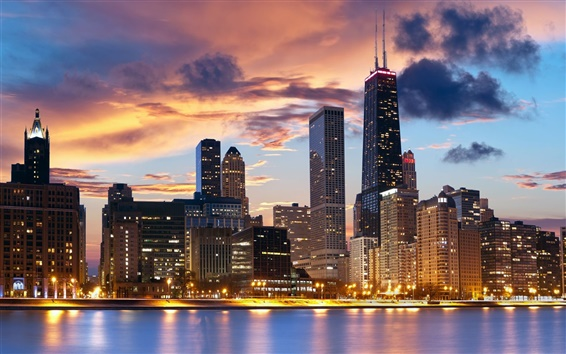 Wallpaper USA, Illinois, Chicago, city, buildings, lights, dusk