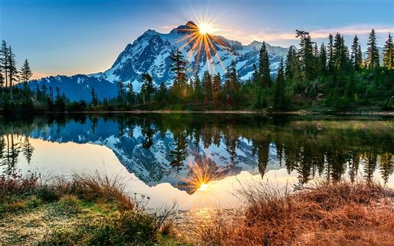 Wallpaper USA, Washington, Mount Baker volcano, lake, reflection, morning, sunrise, forest