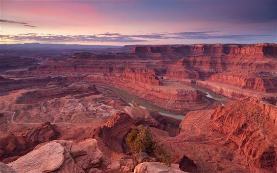 Обои США, красный каньон, скалы, небо