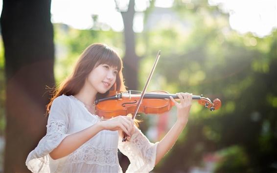 Wallpaper Violinist, east girl, forest, sunlight
