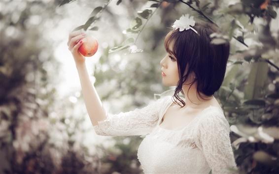 Wallpaper White dress girl, asian, catch apple