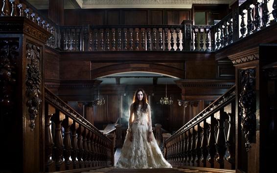 Wallpaper White dress girl, room, stairs, railings