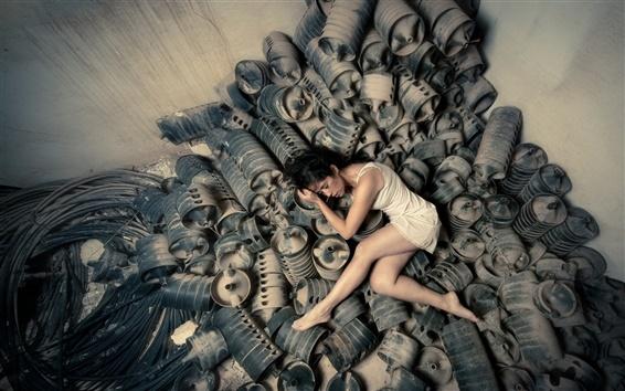 Wallpaper White dress girl sleep