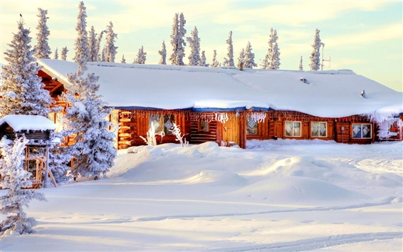 Wallpaper Winter thick snow, house, trees