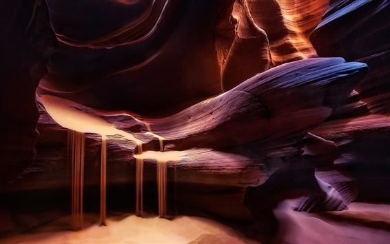 Wallpaper Antelope Canyon, rocks, light, texture, sand, red