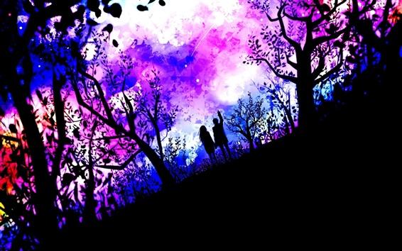 Wallpaper Art pictures, couple, nature, trees, stars, purple