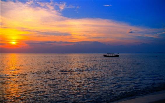 Fond d'écran Asie, Cambodge, plage Otres, mer, bateau, coucher de soleil