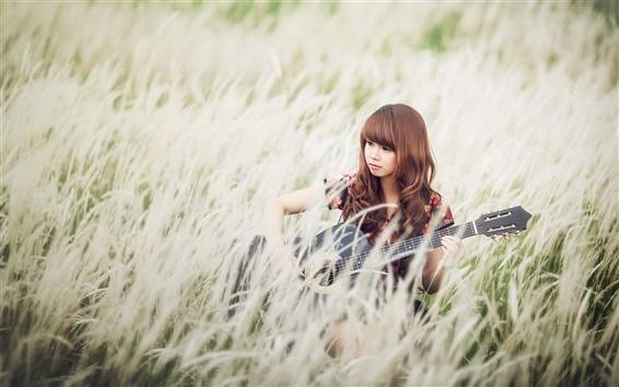 Wallpaper Asian girl, grass, guitar, music