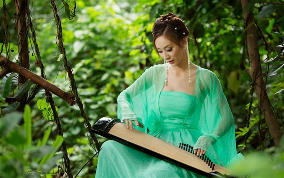 Wallpaper Asian girl playing the zither
