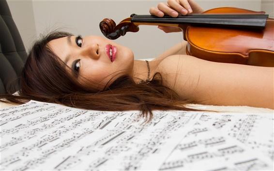 Wallpaper Asian girl, violin, music, bed