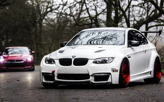 Wallpaper BMW E92 M3 white car on road