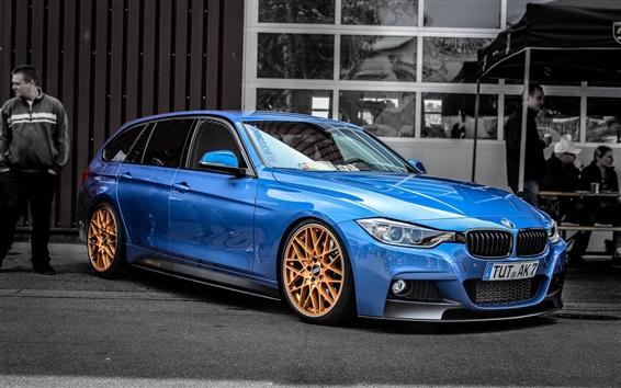 Обои BMW F30 330D вид сбоку синий автомобиль