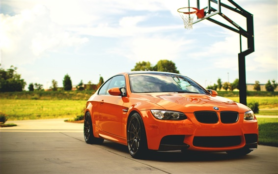 Fond d'écran BMW M3 E92 voiture orange, de basket-ball