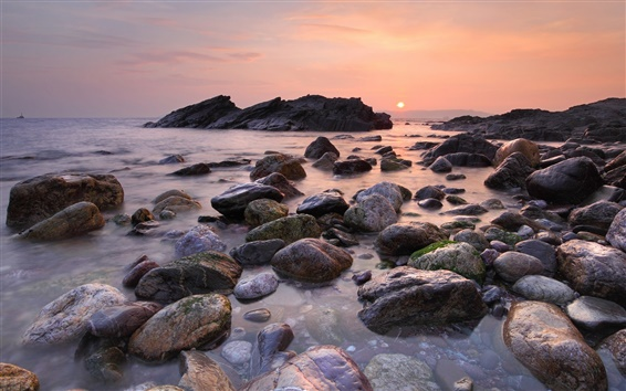 Papéis de Parede Praia do sol, céu, sol, mar, pedras