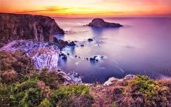 Fond d'écran Belle côte, mer, plage, coucher de soleil, les pierres