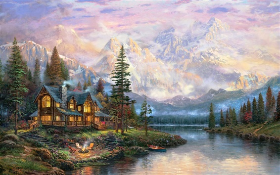 Fond d'écran Belle peinture, montagnes, rivière, maison, arbres