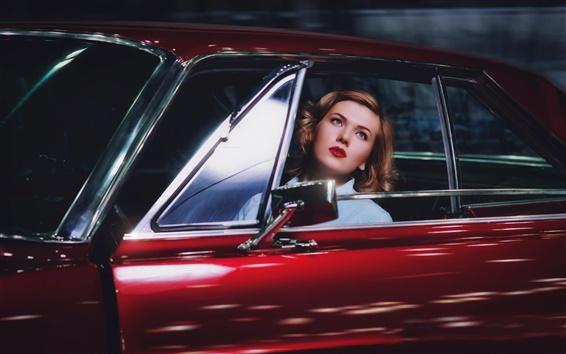 Wallpaper Blonde girl in red car