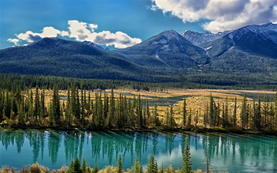 Wallpaper Bow River, Alberta, Canada, trees, mountains, clouds